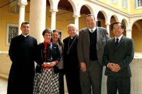 Membros da Montfort com Dom Di Noia (no centro) e Pe. Almir de Andrade (à esq.)