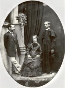 Pe. Edgardo Mortara com a mãe judia; ele fora educado pelo Papa Pio IX por ter sido batizado