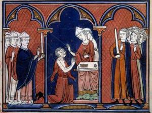 Sagração de São Luis (Rei Luis IX) - Iluminura do séc. XIII