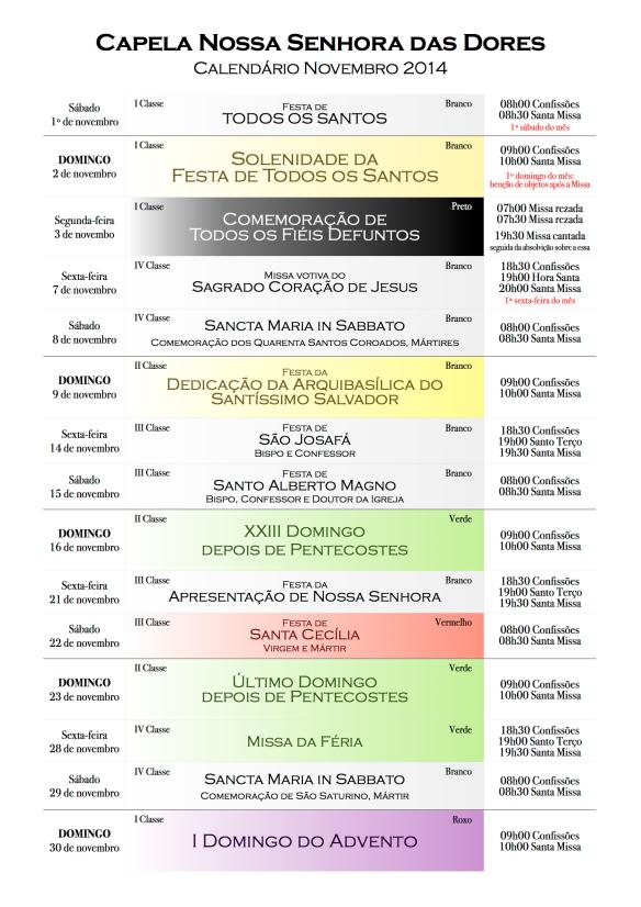Calendário 2014 - Novembro