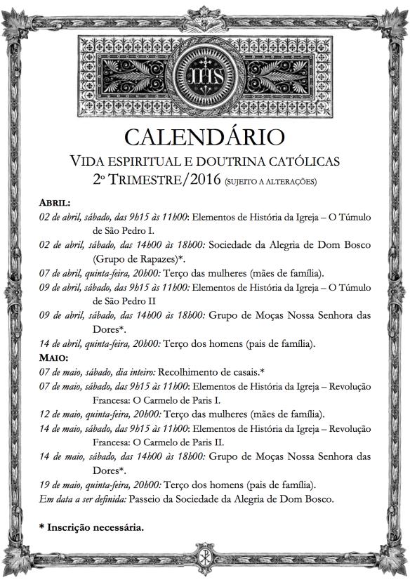 Calendário Cap NSD 2trim2016